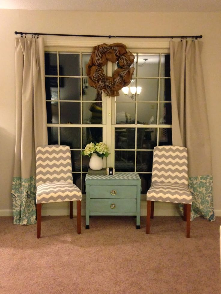 Curtains fabric added to drop cloth apartment ideas