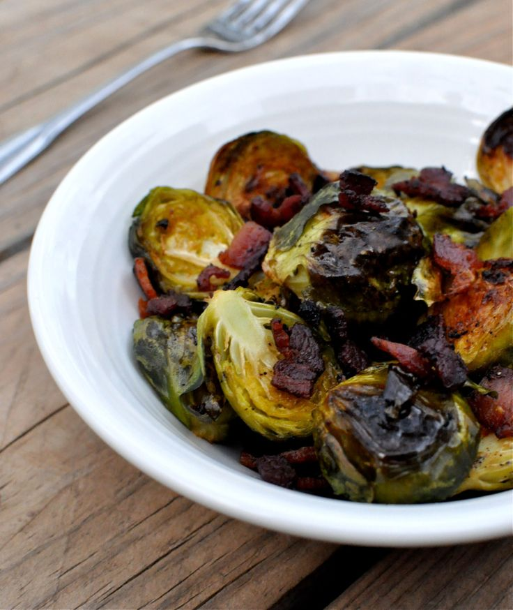 Roasted Bacon Balsamic Brussels Sprouts | Sides | Pinterest