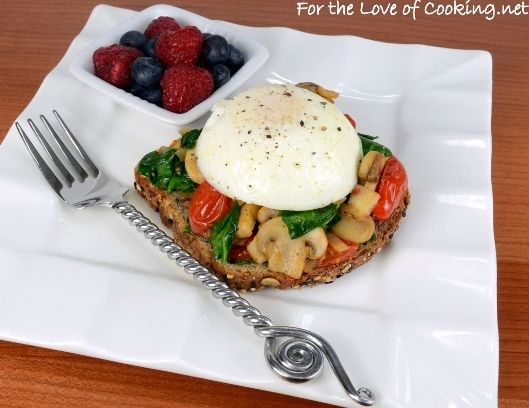 Poached Egg on Toast with Sautéed Mushrooms, Tomatoes, and Spinach ...