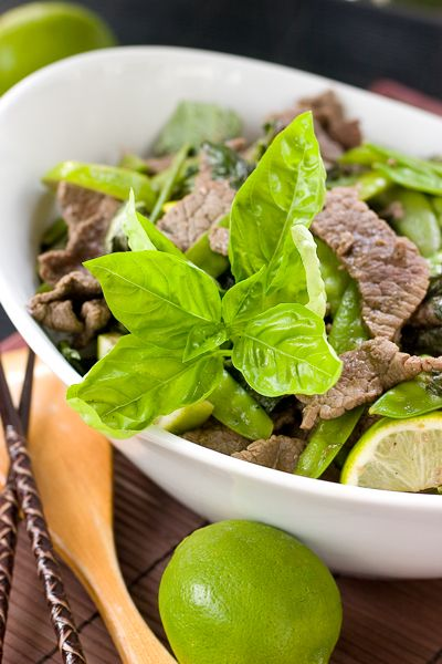 BASIL LIME BEEF STIR FRY - low carb if you use cauliflower rice ...