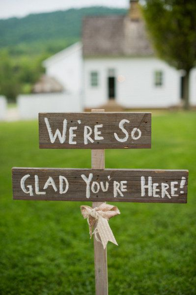 love the rustic signs