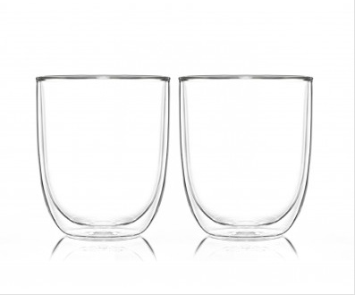Pyrex Double Wall Glass Cups 250ml X 2
