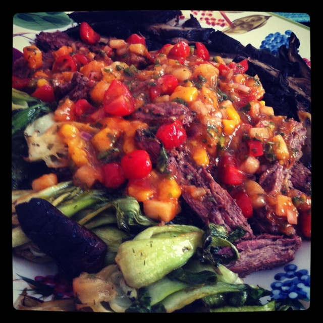 ... mango, white peach spicy salsa with grilled bok choy and balsamic