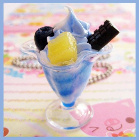 Blueberry Sundae charm -- silicone, plastic and fake pearls suspended ...