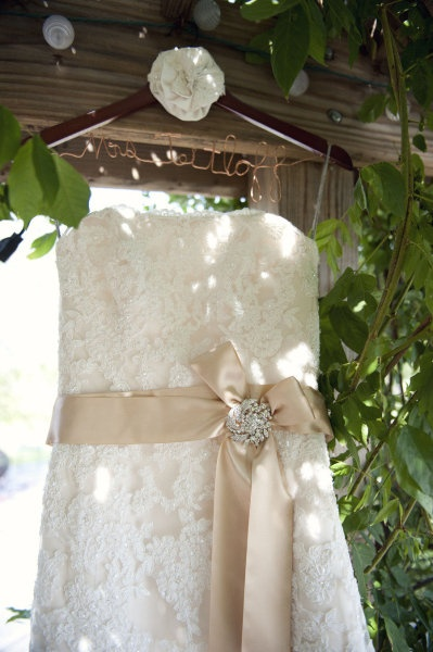 Dress - Karena Royale - Ivory lace over Light Gold with Gold ribbon