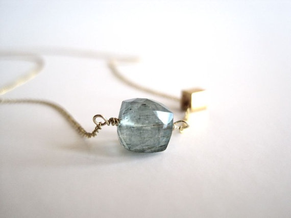 Moss aquamarine cube necklace