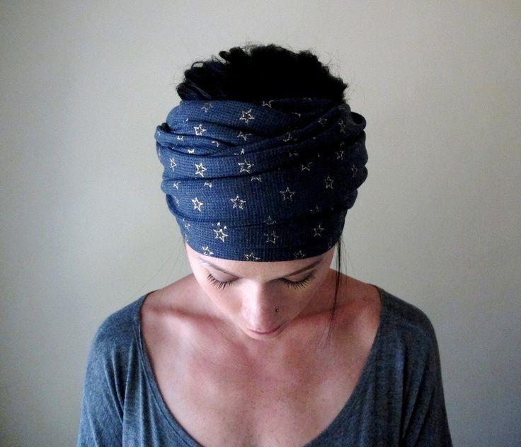 Gold Stars on Denim Blue Head Scarf, Hair Wrap, Headband - All in One ...