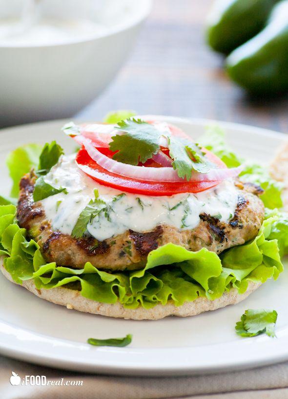 Cumin Zucchini Turkey Burger with Cilantro Aioli | Recipe
