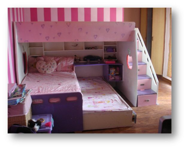 Bunk bed for three children  stylish bunk bed  but maybe in just wood