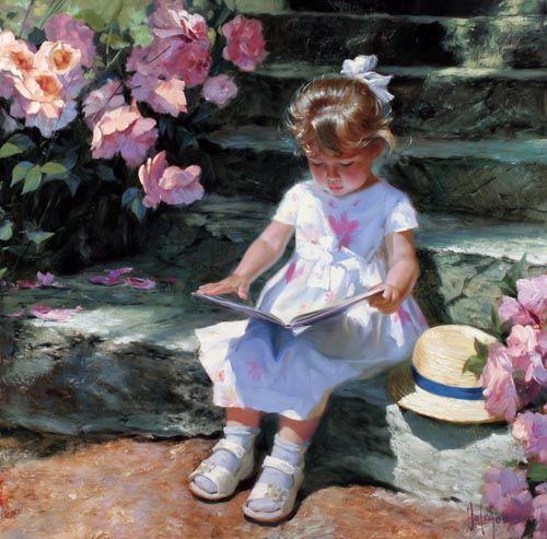 Reading In The Garden Love This Art Pinterest