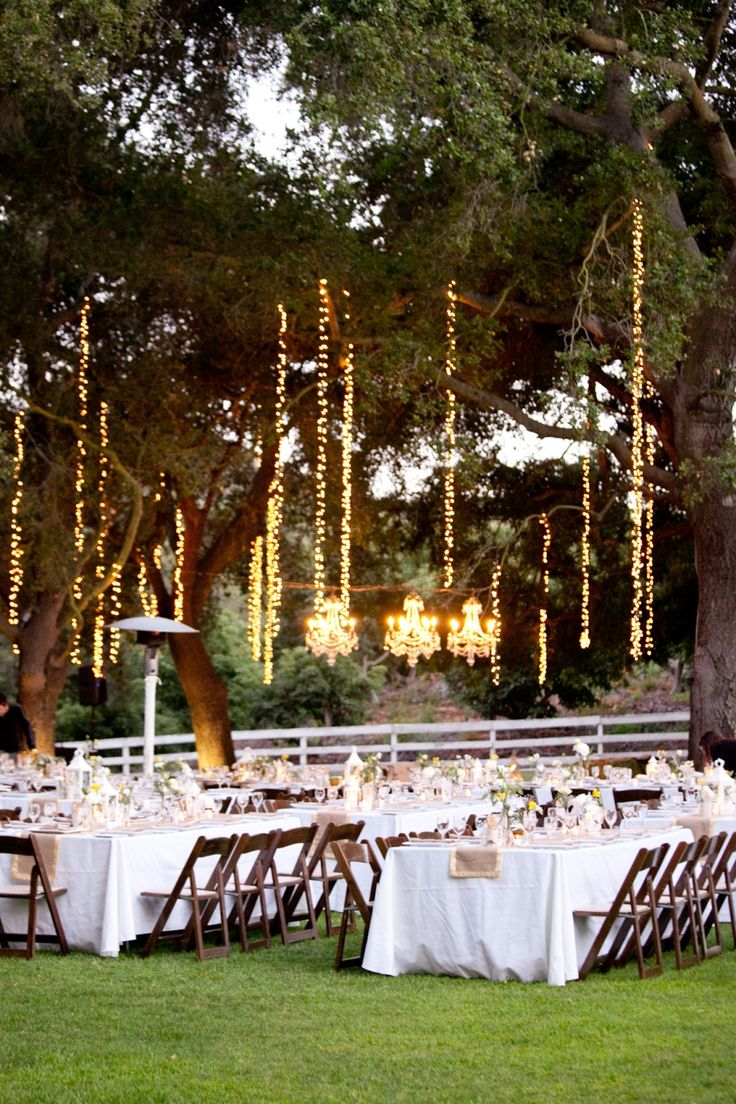 Outdoor string lighting in trees. wedding inspiration from others