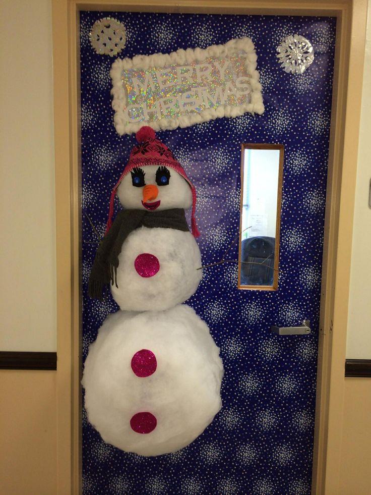 3D snowman door decorating contest | Cool craft ideas | Pinterest