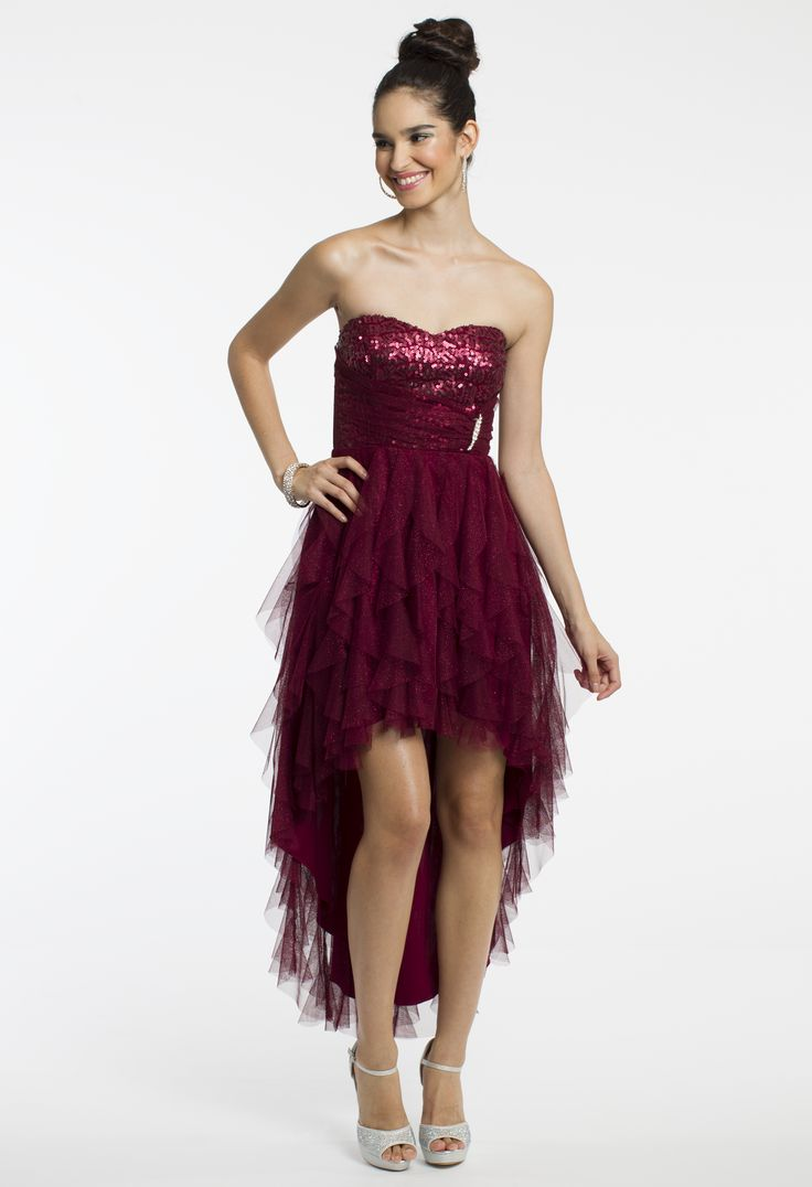 Strapless Glitter High-Low Dress by Camille La Vie & Group USA