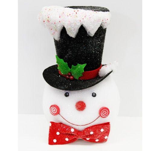 14 5 snowman head tree topper christmas pinterest. Black Bedroom Furniture Sets. Home Design Ideas