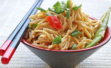 Peanut Noodle Salad is a delish Asian-inspired way to spice up your pasta.