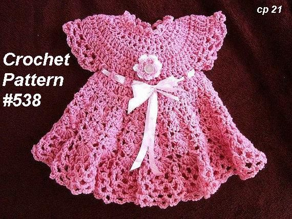 Baby Sun Dress Pattern To Crochet : CROCHET PATTERN, Baby Dress - pink Girls Dress - newborn ...