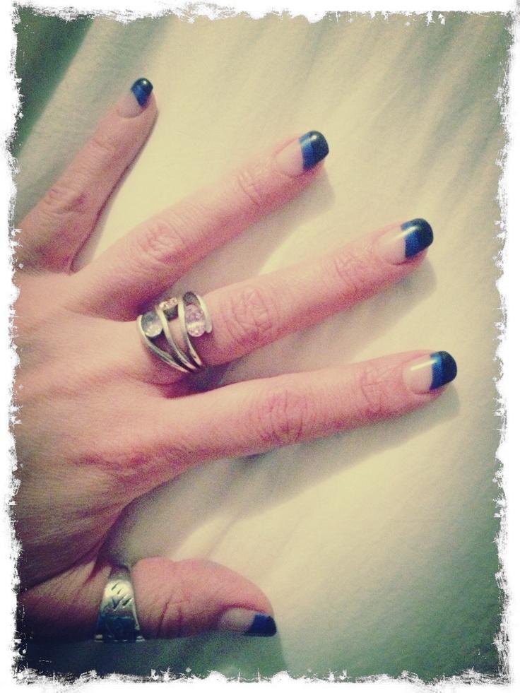 Blue & black gel nails. | My Style | Pinterest