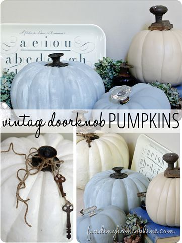 Vintage Doorknob Pumpkins - a simple an easy way to update ugly store bought fake pumpkins - with paint and vintage doorknobs and hardware.  Plus links to four other pumpkin projects.