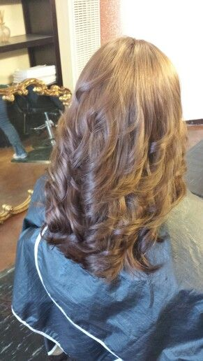 Light mocha brown red on long thick fine hair with lots of layers and
