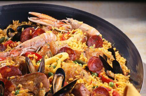 Paella with chicken, lamb, chorizo and seafood   Recipe