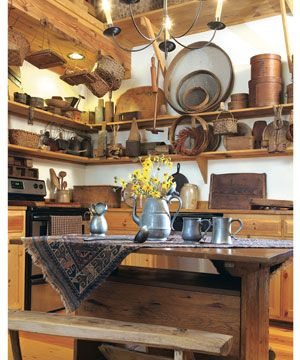 Install open shelves in the kitchen to let your country kitchenware pull double-duty as eye-catching decor.