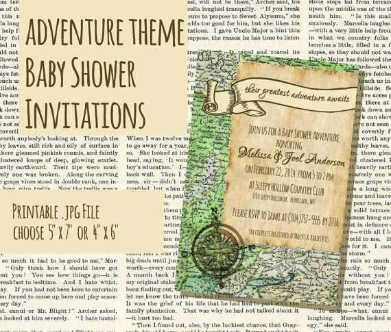 adventure or travel themed vintage style baby shower invitations