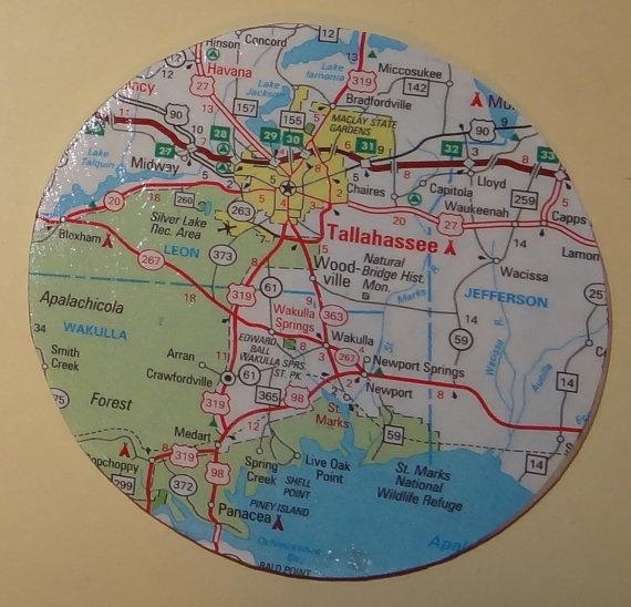 Tallahassee Florida Map Circle Magnet OOAK