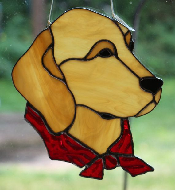 Stained Glass Golden Retriever Dog by Imakeglass on Etsy: pinterest.com/pin/239394536417867689