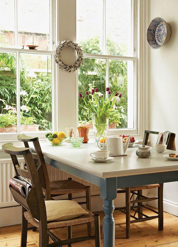 Mesas de comedor mesa madera pintada mesas restauradas for Como decorar un comedor de madera