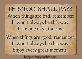 """""""This Too Shall Pass"""" has been passed down from Mama Dean to me and  to Suzanne and her children and yes we use it faithfully. It has carried us thru some very rough patches of life. If God brings you to it he will bring you thru it. Another one that is good!"""