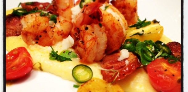 Spicy Shrimp and Grits with Andouille Sausage