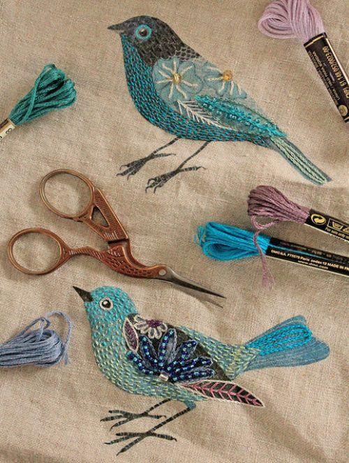pretty embroidered birds