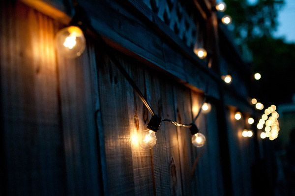 Backyard Lights On Fence : fence is the easiest place to hang string lights or globe light sets
