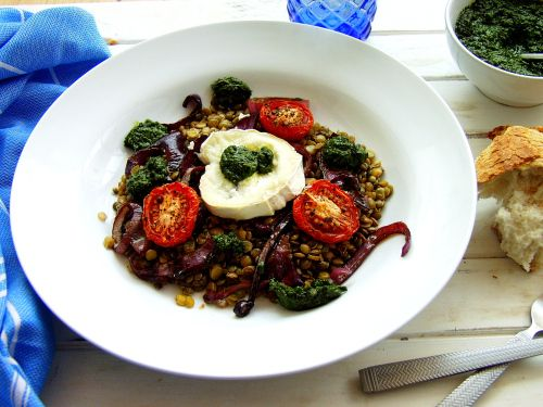 Wintery Warm Lentil and Goats Cheese Salad with a Fresh Basil dressing