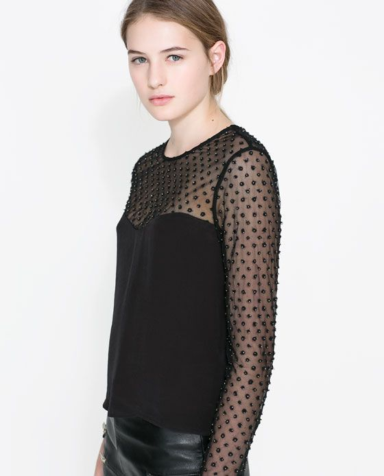 Zara Combined Embroidered Blouse 119