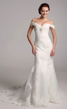 Trumpet/ Mermaid Off-the-shoulder Organza Over Satin Wedding Dress With Removable Chapel Train