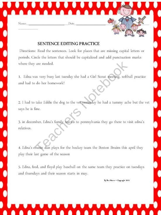 ... .com - (4 pages) - Editing Practice, second grade, capitals, periods