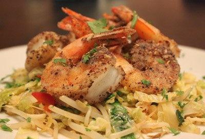 Szechwan Pepper Shrimp with Bean Sprout Stir Fry.
