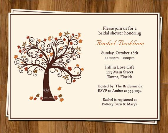 Autumn Bridal Shower Invitations, Fall Wedding Shower Invites, Set of ...
