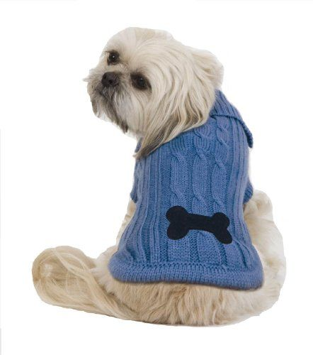 $13.47-$17.79 Fashion Pet Bone Patch Small Cable Dog Sweater, Blue - Snuggly cable knit sweater with high collar and bone embroidered patch on tail of sweater. Easy 0n-off Velcro closure placket with a button and knit sleeves. Convenient leash hole at the neck. http://www.amazon.com/dp/B002LHEE4I/?tag=pin2pet-20