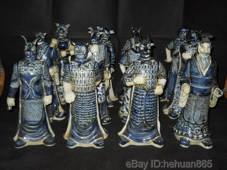 Blue and white porcelain Chinese zodiac figures in robes, set of 12 ...