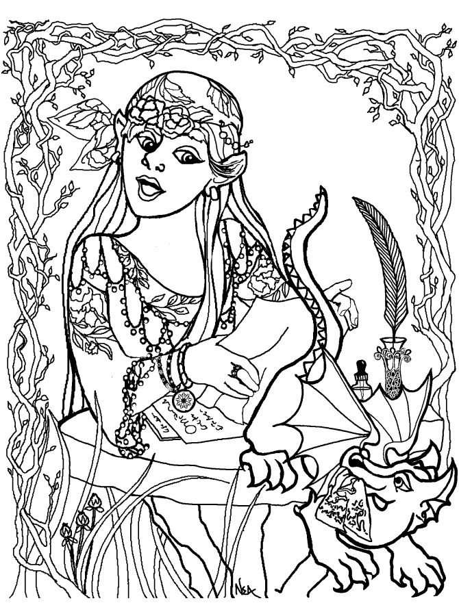 Girl with Baby Dragon Coloring
