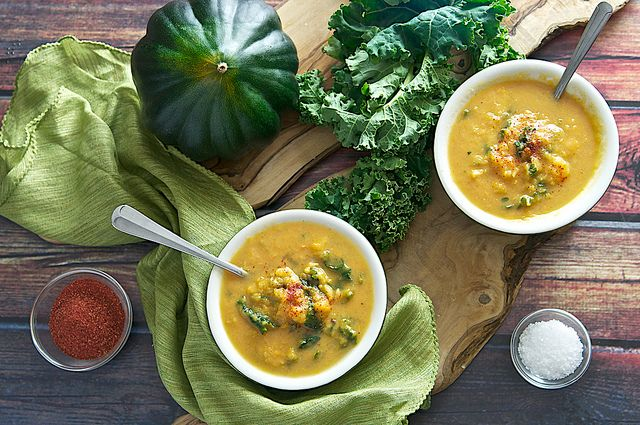 ... : Roasted Acorn Squash, Sweet Potato & Kale Soup (Vegan Optional