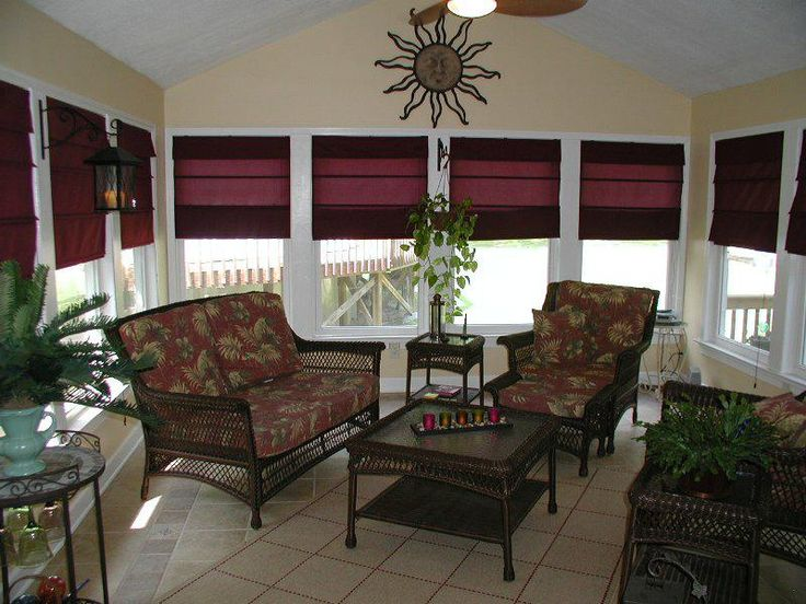 Sunroom sunroom window treatments pinterest for Window covering ideas for sunrooms