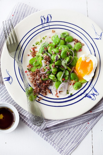 fava bean, red quinoa and soft cooked egg salad by cannelle-vanille ...