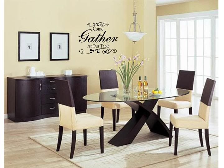 Come gather at our table wall art decal decor kitchen for Dining room wall art images