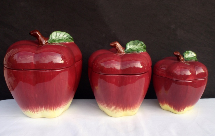 apple canisters jars vintage set of 3 red apple fine red apple kitchen storage canisters red kitchen accessories