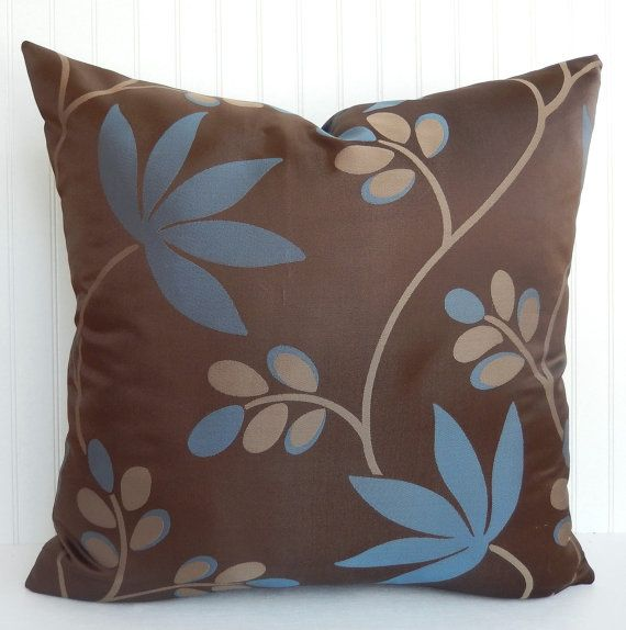 Baby Blue And Brown Throw Pillows : Blue and Brown Pillow Cover - Throw Pillow - Foliage, Leaf Decorative?