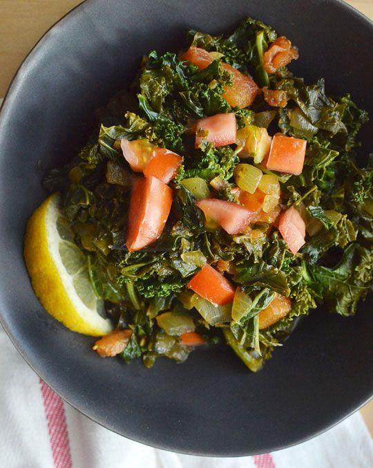 "Sukuma Wiki - African Braised Kale with Tomatoes - ""Sukuma wiki"" is..."