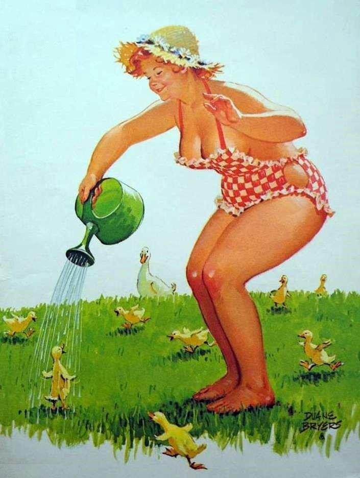 Hilda watering the baby ducks